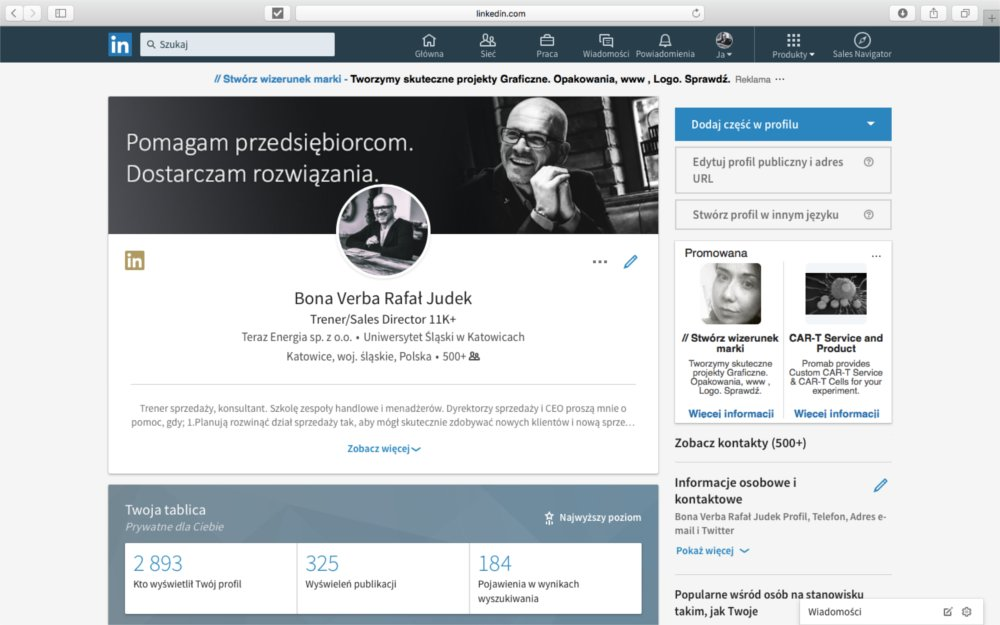 LinkedIn - rafał przykład strony.